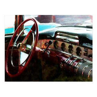 Restored and Shiny Antique Car Interior Postcard