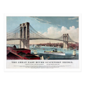 Restored antique East River Suspension Bridge NY Postcard