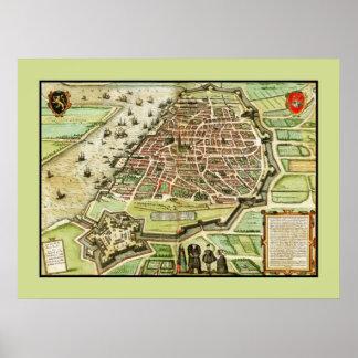 Restored antique map anno 1575 of Antwerp Belgium Poster