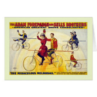 Restored bicyle acrobats Forepaugh Sells Card