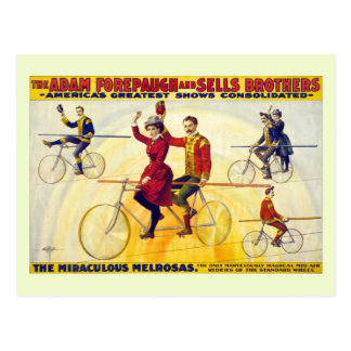 Restored bicyle acrobats Forepaugh Sells Postcard