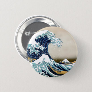 Restored Great Wave off Kanagawa by Hokusai Pinback Button