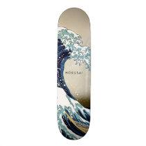 Restored Great Wave off Kanagawa Custom Text Skateboard