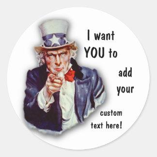 Restored Iconic Uncle Sam Image Classic Round Sticker
