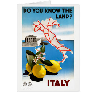 Restored Italy Vintage Travel Poster Card