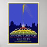 Restored Vintage Buckingham Fountain Poster