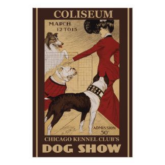 Restored Vintage Chicago Kennel Club Poster