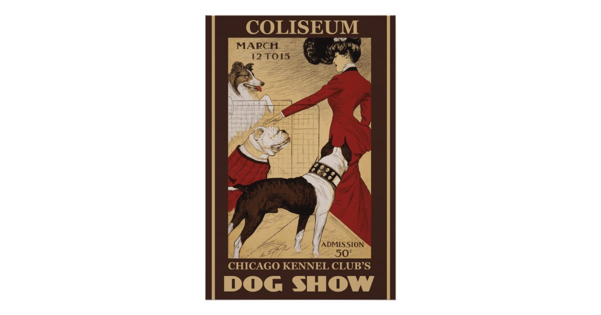 Restored vintage chicago kennel club poster zazzle for Vintage chicago posters