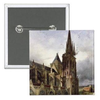 Restoring the Abbey Church of St. Denis in 1833 Pinback Button