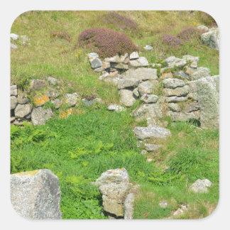 Restos antiguos en las islas de Scilly Pegatina Cuadrada