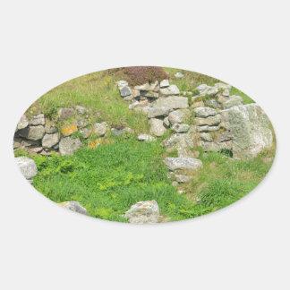 Restos antiguos en las islas de Scilly Pegatina Ovalada