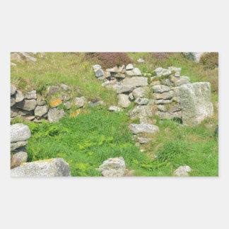 Restos antiguos en las islas de Scilly Pegatina Rectangular