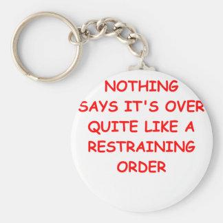 restraining order basic round button keychain