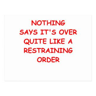 restraining order post cards