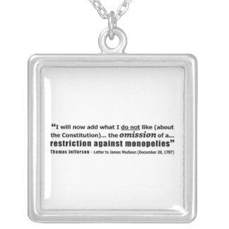 Restricción contra los monopolios Thomas Jefferson Collar Plateado