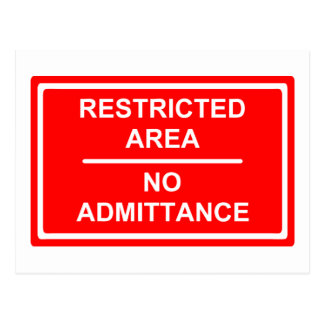 Restricted Area No Admittance Postcard