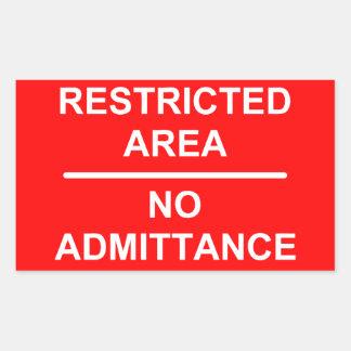Restricted Area No Admittance Rectangular Sticker