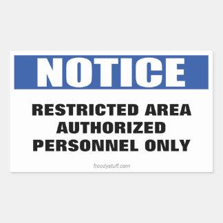 Restricted Area Notice Sign Rectangular Sticker