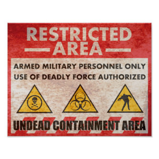 Restricted Area Warning Sign Poster