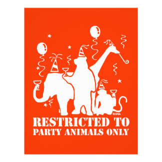 Restricted to party animal only flyer design
