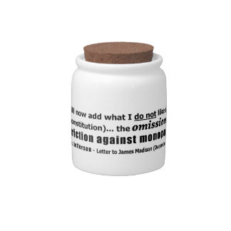 Restriction Against Monopolies Thomas Jefferson Candy Jar