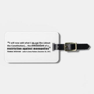 Restriction Against Monopolies Thomas Jefferson Luggage Tag