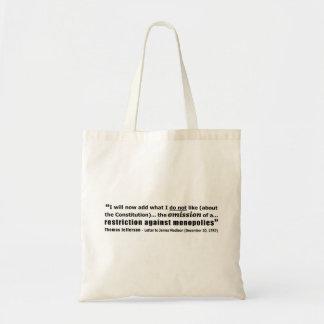Restriction Against Monopolies Thomas Jefferson Tote Bag
