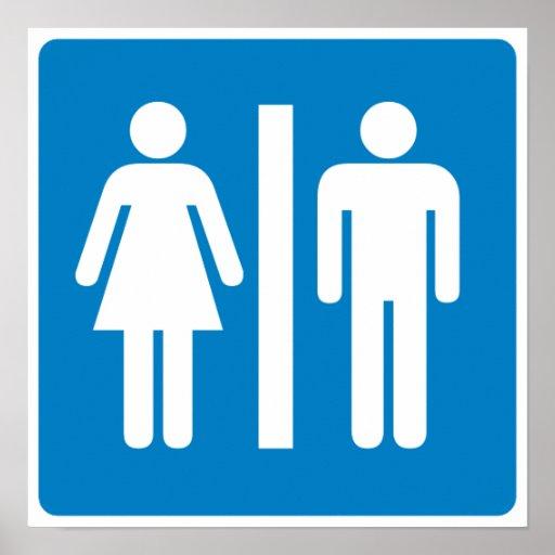 Restroom Facilities Highway Sign Poster