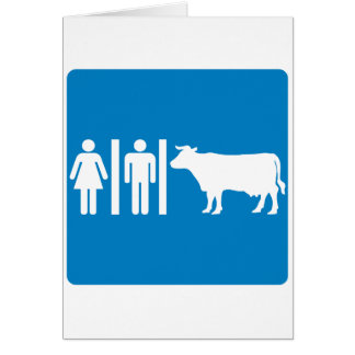 Restroom Facilities Humorous Highway Sign - COWS Greeting Cards