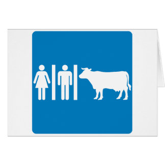 Restroom Facilities Humorous Highway Sign - COWS Greeting Card