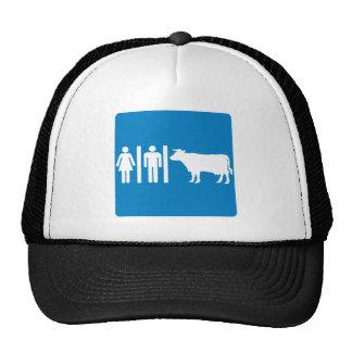 Restroom Facilities Humorous Highway Sign - COWS? Trucker Hat