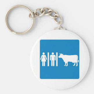Restroom Facilities Humorous Highway Sign - COWS? Keychain