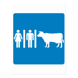 Restroom Facilities Humorous Highway Sign - COWS Post Cards
