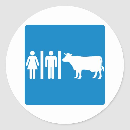 Restroom Facilities Humorous Highway Sign - COWS? Round Stickers