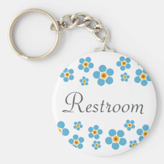 Restroom Forget me nots floral border keychain