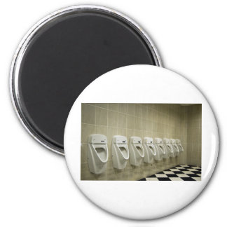 restroom interior with urinal row 2 inch round magnet