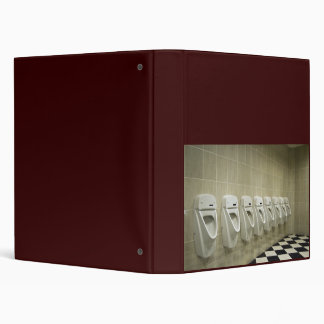 restroom interior with urinal row 3 ring binder
