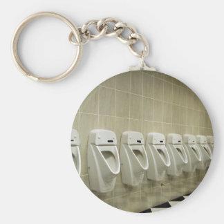 restroom interior with urinal row basic round button keychain