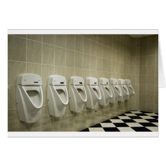 restroom interior with urinal row card