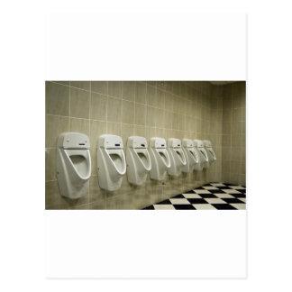 restroom interior with urinal row postcard