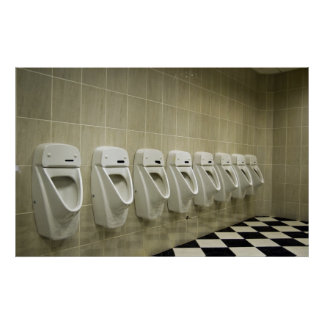 restroom interior with urinal row poster