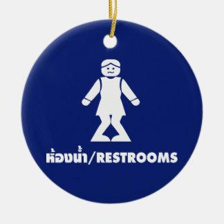 Restrooms (HONG NAM) ⚠ Thai Asian Toilet Sign ⚠ Ceramic Ornament