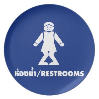 Restrooms (HONG NAM) ⚠ Thai Asian Toilet Sign ⚠ Dinner Plate