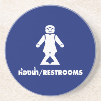 Restrooms (HONG NAM) ⚠ Thai Asian Toilet Sign ⚠ Drink Coaster