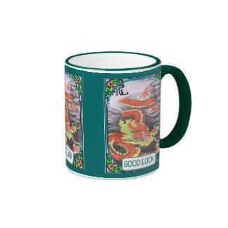 Resuelva el dragón chino taza de dos colores