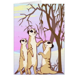 Resuelva los meerkats, familia en la nieve tarjeta de felicitación