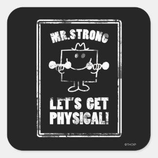 Resuélvase con Sr. Strong Pegatina Cuadrada