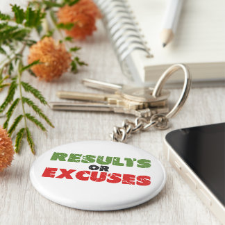 Results or Excuses | Bodybuilding Quote | Vintage Basic Round Button Keychain