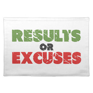 Results or Excuses | Bodybuilding Quote | Vintage Place Mat