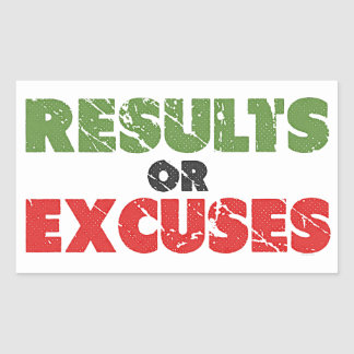 Results or Excuses | Bodybuilding Quote | Vintage Rectangular Sticker